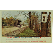 SALE J. I. Case Advertising Post Card of a Steamroller and Old Abe