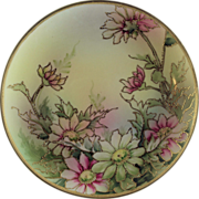 SALE Nippon Porcelain Hand Painted Plaque in Floral Pattern