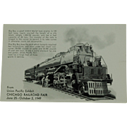 SALE Chicago Railroad Fair Post Card of Union Pacific Big Boy