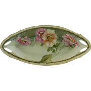 R S Silesia Celery Dish Decorated With Peonies