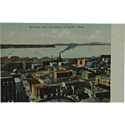 Birds Eye View of Seattle Washington Poly-Chrome Post Card