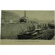 Collotype Post Card of U.S.S. Perry in Drydock Bremerton Washington