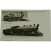 Burlington Route Passenger Engines Undivided Back  Post Card