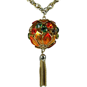 Rhinestone Pendant Floral Design With Chain Link Necklace