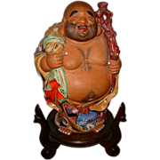 Satsuma Smiling Buddha on Stand