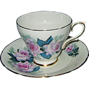 SALE Delphine China - Pink Roses on White - Teacup Set