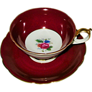 Royal Bayreuth  - Rose Bouquet on Maroon - Teacup Set