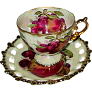 SOLD Shafford - Fancy Fruits Footed Teacup Set