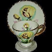 SOLD SAJI - Yellow Rose Footed Teacup Set