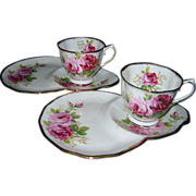 SOLD Royal Albert - American Beauty - Snack Plate & Cup Sets (2)