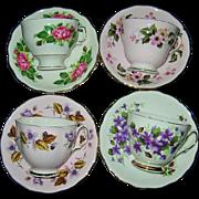 SOLD Colclough China - Fancy Teacup Sets (4)
