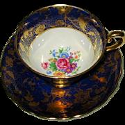 Tuscan China - Gold Chintz on Cobalt Blue - Teacup Set