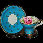 SOLD Aynsley - Pink Rose on Teal - Corset Teacup Set