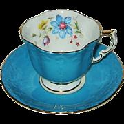 SOLD Vintage Aynsley - Fancy Teal Blue Teacup Set