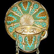 SOLD Antique Davenport, Golden and Aqua Teacup Set ca1867
