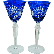 Gorgeous - Cobalt Blue Cut - Tall Wine Goblets