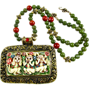 SOLD Artisan Hear No Evil Necklace: Bone, Brass, Coral, Olive, 23-1/2 Inches