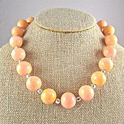 REDUCED Artisan Peach-Colored Coral Choker Necklace, 17-1/2 Inches