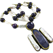 Artisan Purple Angel Necklace: Jasper, Pearl, Brass, 23-3/4 Inches