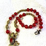 Lucertola Fibonacci Necklace: Brass & Red Resin, 21-1/4 Inches