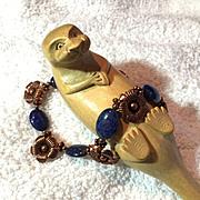 Lapis & Copper Flower Bracelet, 8-1/4 Inches