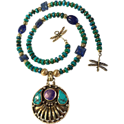Nepalese Brass, Turquoise & Lapis Heishi Necklace, 20 Inches