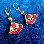 Artisan Brass & Red Resin Nepalese Earrings