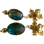 22K Gold-Plated Post Earrings with Peruvian Blue Opal, 1-1/4 Inches