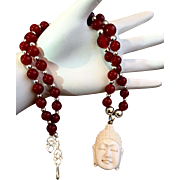 Buddha Necklace of Bone, Carnelian & Sterling Silver, 21 Inches