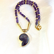Amethyst & Gold-Filled Quotation Mark Necklace, 18-1/2 Inches