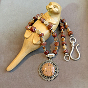 Man's Necklace of Bauxite and Jasper, 17 Inches