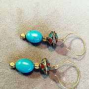 Turquoise, Coral & Brass Earrings, 2-1/4 Inches