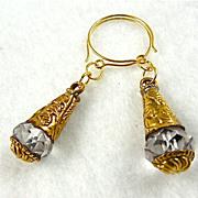 """Brass & Crystal Earrings, 2-1/8"""""""