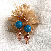 SALE Copper & Jade Earrings, 1-5/8 Inches