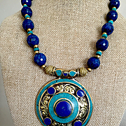 Brass, Turquoise & Sodalite Necklace, 18 Inches