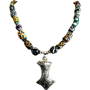 African Necklace of Ghanaian Trade Beads & Moroccan Silver, 21-3/4 Inches