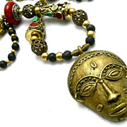 African Necklace of Brass/Lava Rock/Resin, 27 Inches