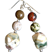 Ocean Jasper Earrings, 2-1/2 Inches