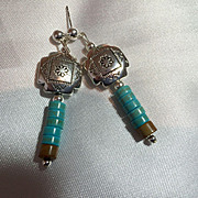 SOLD SW Turquoise & Sterling Silver Earrings, 2-1/8 Inches