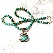 Turquoise & Sterling Silver Heishi Necklace, 19-1/2 Inches