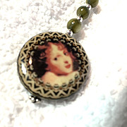 Olive Green Decoupage Earrings, 2-3/4 Inches