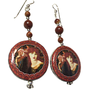 Rust-Colored Decoupage Earrings, 2-5/8 Inches