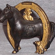 Arcade Cast Iron Bank Good Luck Horseshoe Buster Brown and Tige