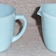 Fire King Turquoise Glass Creamer and Sugar Set