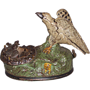 Cast Iron J E Stevens Eagle and Eaglets Mechanical Bank
