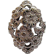 Rhodium Plated Sterling Silver Marcasite Fancy Floral Design Ring