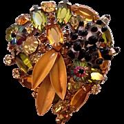Olivine Jonquil Rhinestone Art Glass Enamel Brooch Pin
