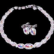 Aurora Borealis Oval Crystal Beaded Necklace & Earrings Set