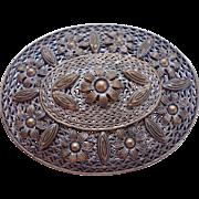 Oval Czech Filigree Flower Pin Brooch