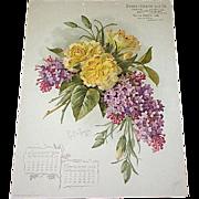 SOLD 1903 Paul de Longpre Calendar Page Carnations Lilacs